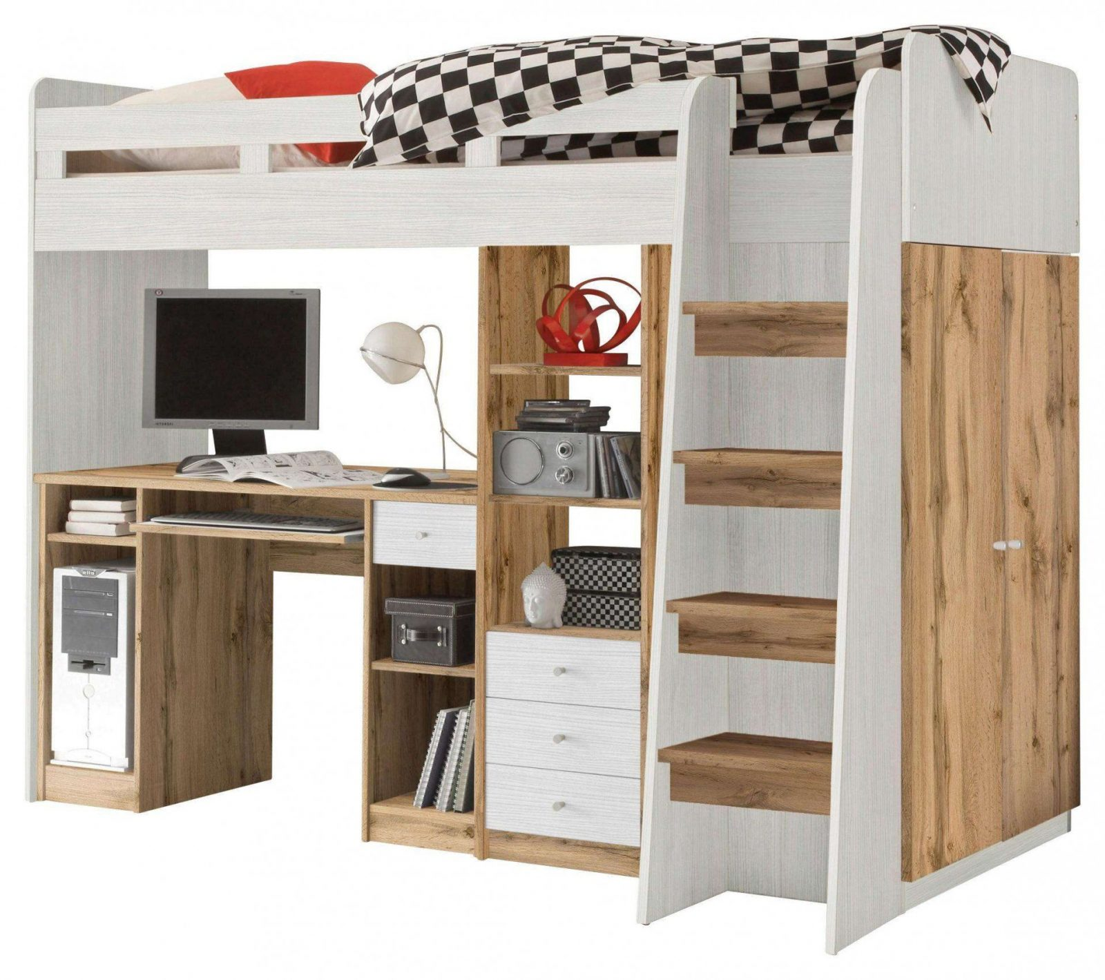 halbhohes kinderbett mit treppe haus design ideen. Black Bedroom Furniture Sets. Home Design Ideas