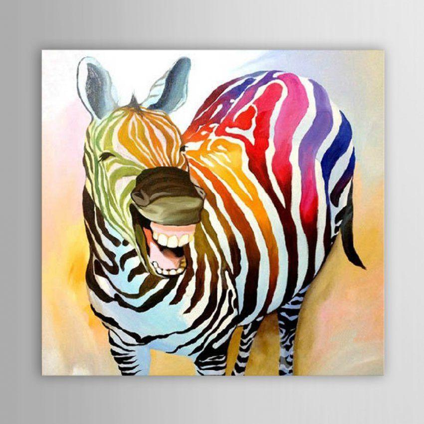 Handgemalte Moderne Abstrakte Dekoration Lachend Zebra Ölgemälde von Zebra Bilder Auf Leinwand Photo