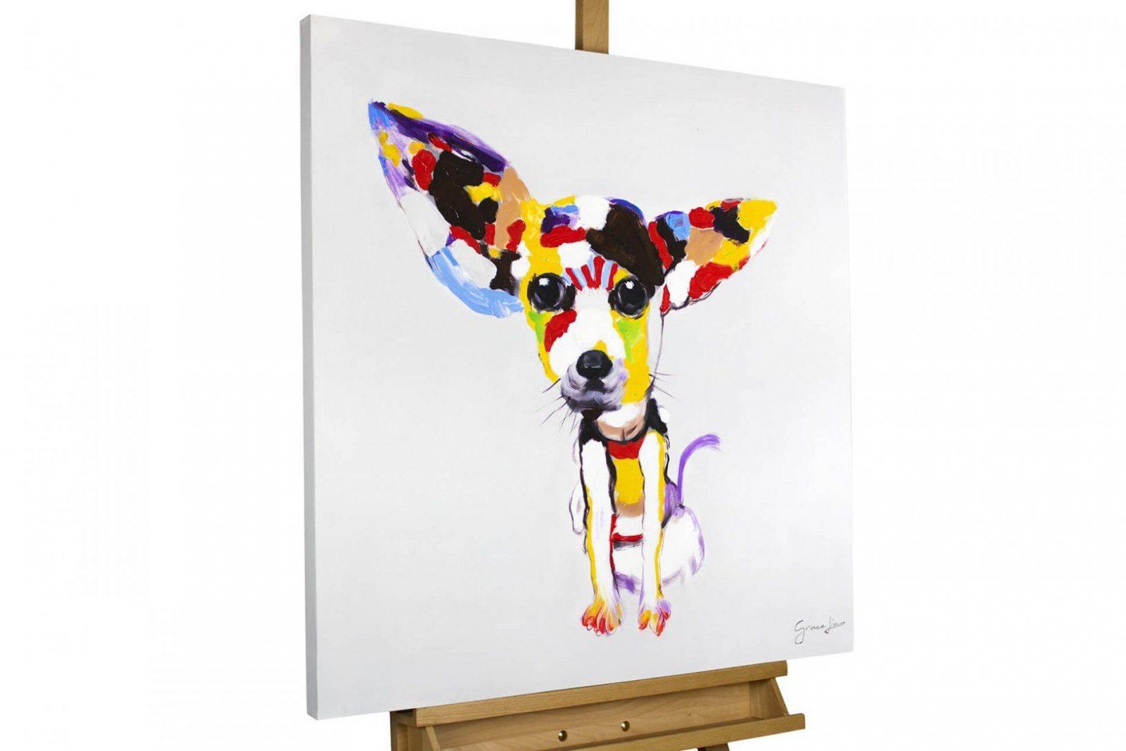 Handgemaltes Acrylbild Mit Buntem Chihuahua  Kunstloft von Leinwandbilder Selbst Gemalt Modern Photo