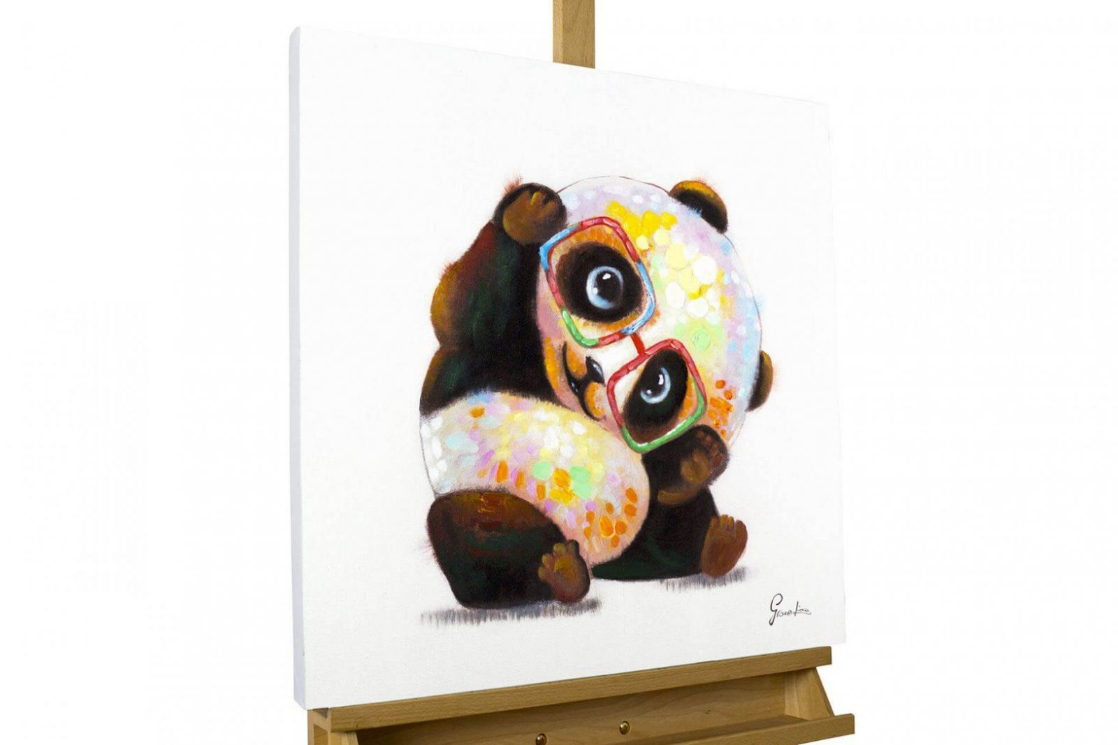 Handgemaltes Acrylbild Mit Panda Motiv  Kunstloft von Leinwandbilder Selbst Gemalt Modern Bild