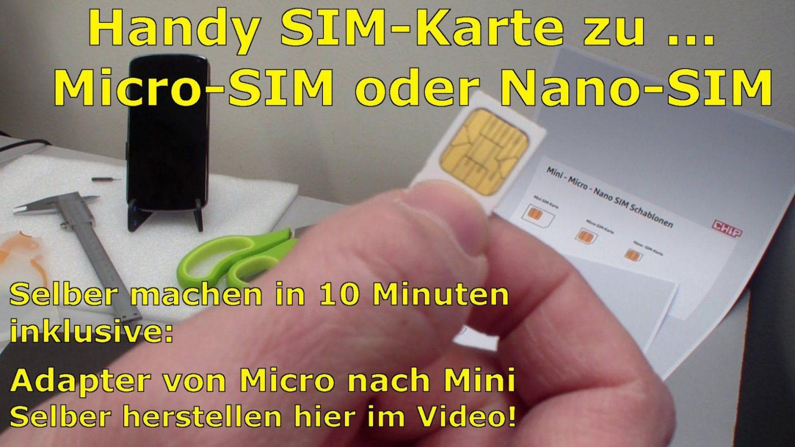 Handy Simkarte Zu Micro  Nano Zuschneiden Und Minisimadapter von Nano Sim Zu Micro Sim Adapter Selber Bauen Bild