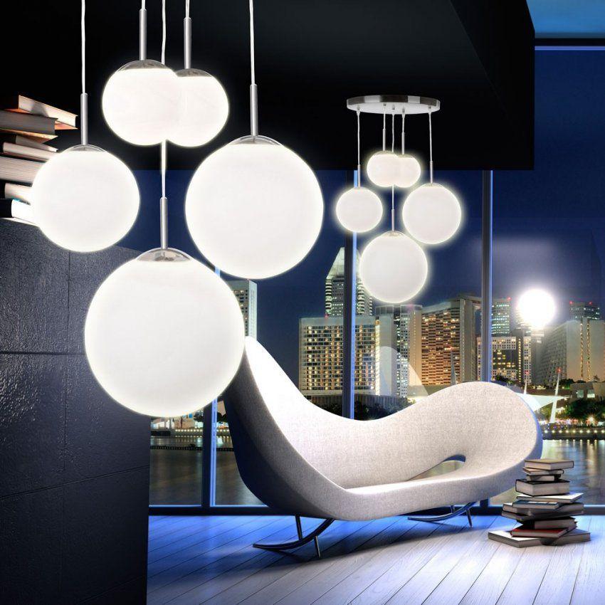 Hänge Lampe Pendel Leuchte 5 Kugeln Satiniert Opal Glas Design von Moderne Lampen Für Wohnzimmer Photo