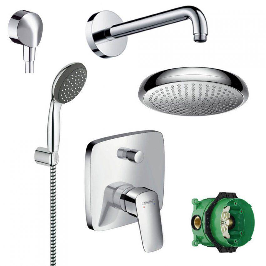 Hansgrohe Dusch Set Unterputz Kopfbrause Duschsystem Chrom von Unterputz Armatur Dusche Set Bild