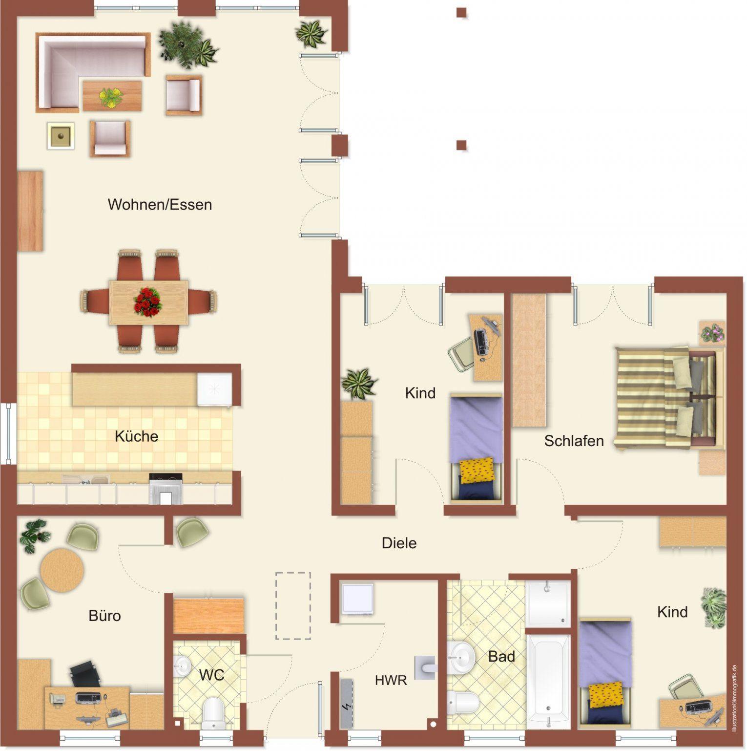 Haus Bungalows & Winkelbungalows  Hausbau24 von Bungalow Grundriss 5 Zimmer Photo