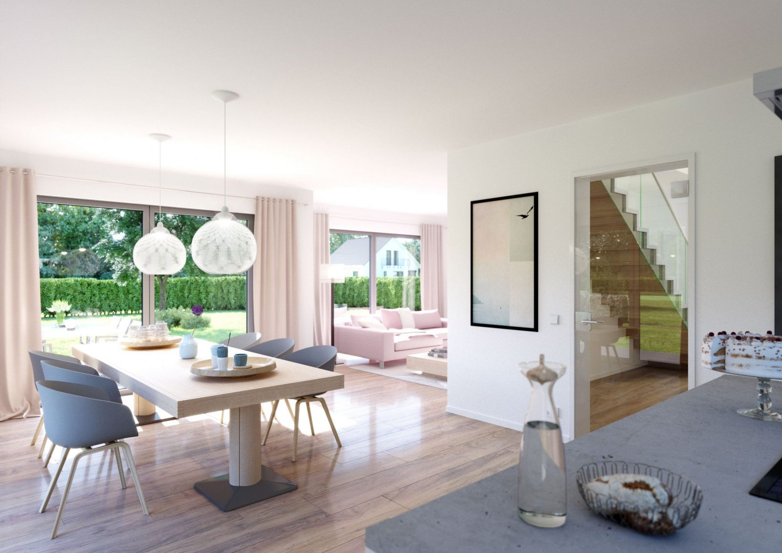 Häuser  Bodentiefe Fenster Flachdach Und Highlights von Modernes Wohnzimmer Mit Essbereich Photo