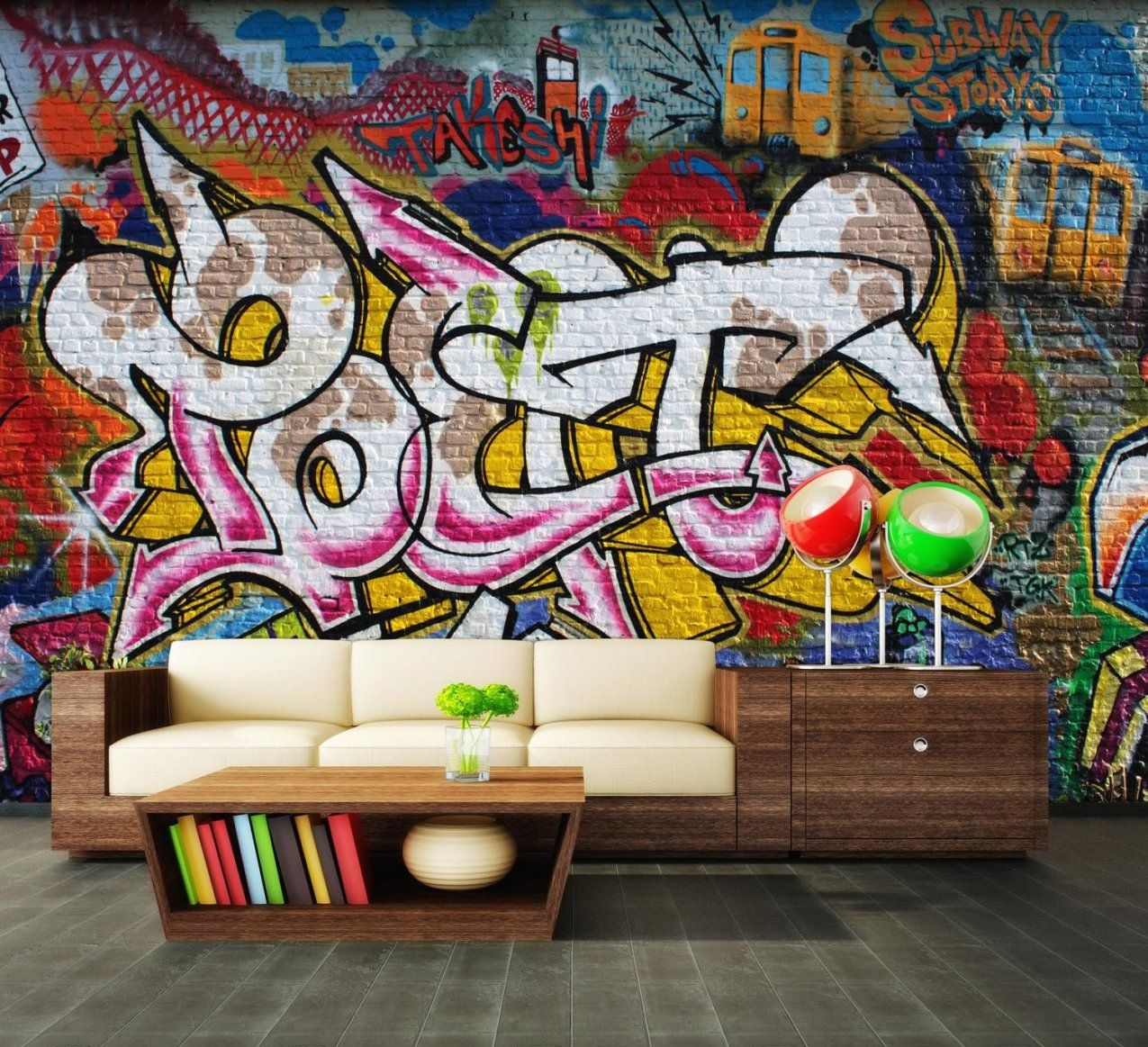 graffiti tapete selbst gestalten | haus design ideen