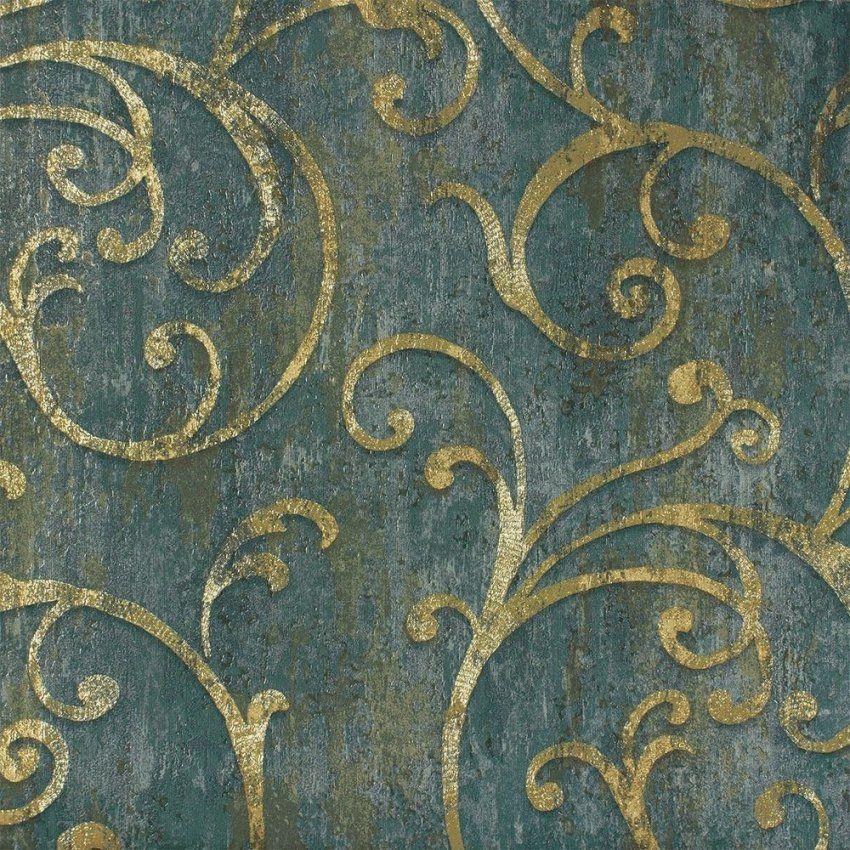 Herrliche Ideen Barock Tapete Grün Und Fantastische Struktur Blau von Barock Tapete Blau Gold Photo