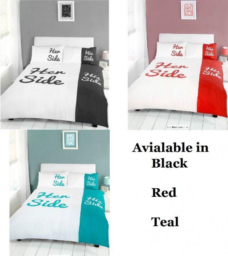 His Side & Her Side Duvet Cover And Pillowcases Bedding Set ( Black von His Side Her Side Bettwäsche Bild