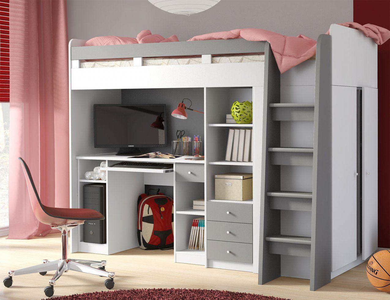 Hochbett Etagenbett Bett Kleiderschrank Schreibtisch 90X200Cm Weiß von Bett Schrank Schreibtisch Kombination Bild