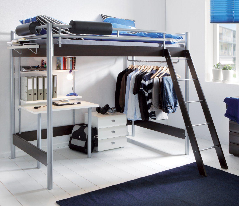 Hochbett Für Erwachsene Mit Schreibtisch Und Kleiderstange  Finn von Etagenbett Für Erwachsene Metall Photo