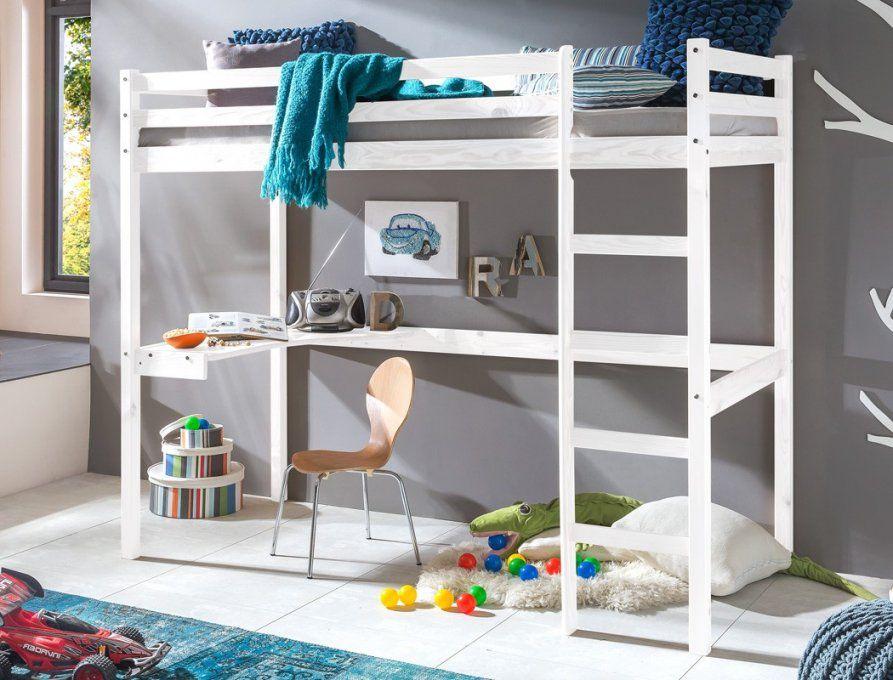 Hochbett Mit Schreibtisch Bett 90X200 Kiefer Weiß Massivholz von Hochbett Weiß Mit Schreibtisch Bild