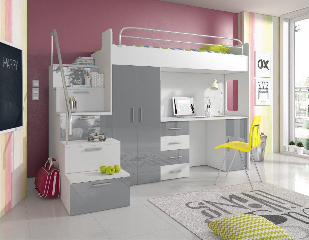 Hochbett Pati Mit Schreibtisch Schrank Und Treppe  Möbel Für Dich von Hochbett Mit Treppe Und Schrank Bild