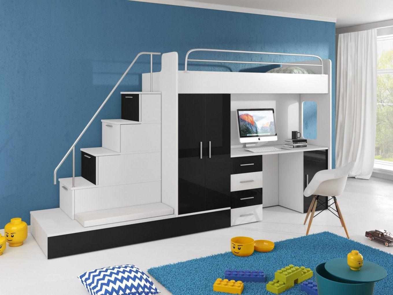 Hochbett Tomi Mit Schreibtisch Schrank Und Regal  Möbel Für Dich von Bett Mit Schreibtisch Und Schrank Photo