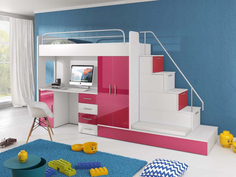 Hochbett Tomi Mit Schreibtisch Schrank Und Regal  Möbel Für Dich von Hochbett Mit Treppe Und Schrank Photo