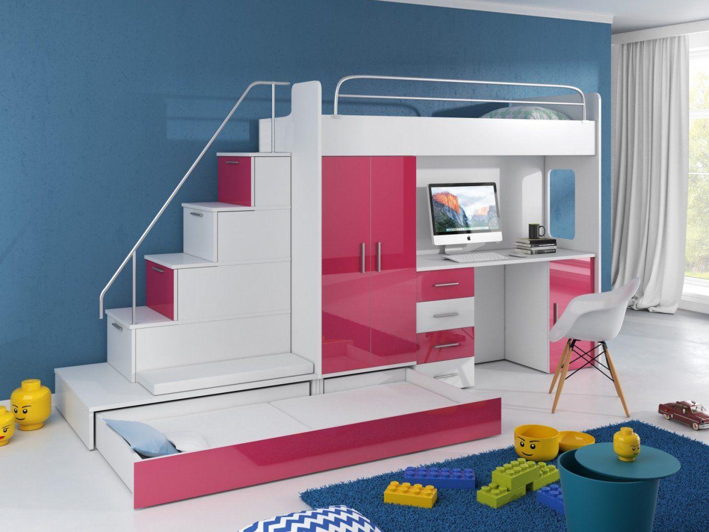 Hochbett Tomi Mit Schreibtisch Schrank Und Regal  Möbel Für Dich von Hochbett Mit Treppe Und Schreibtisch Photo