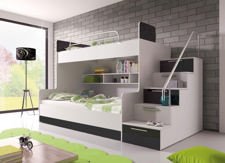 Hochglanz Etagenbett Doppelbett Alex  Möbel Für Dich Online Shop von Jugendzimmer Bett Mit Bettkasten Bild