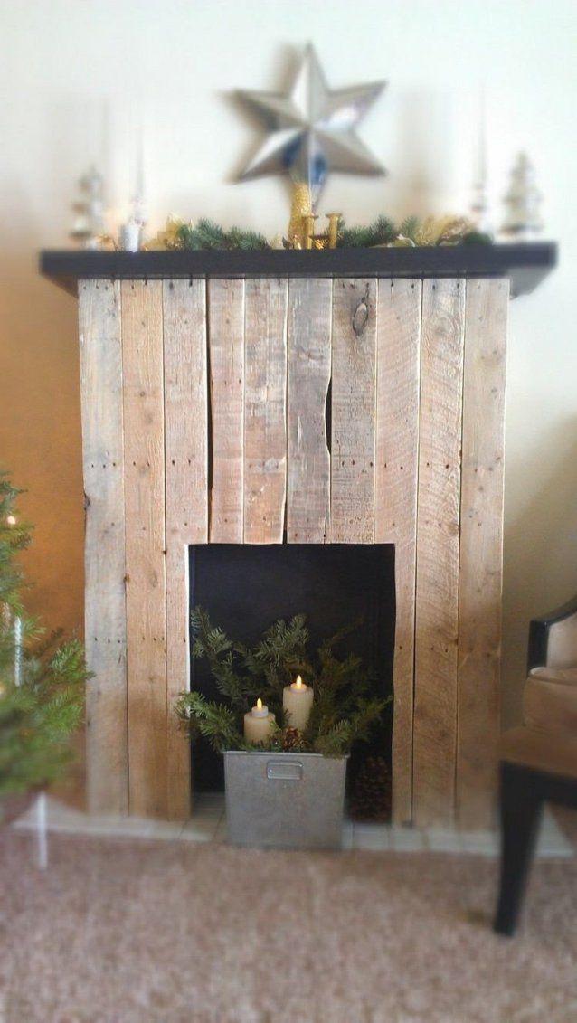 Holz Kaminkonsole Weihnachtlich Dekorieren  Dekokamin  Pinterest von Deko Kaminumrandung Selber Bauen Bild