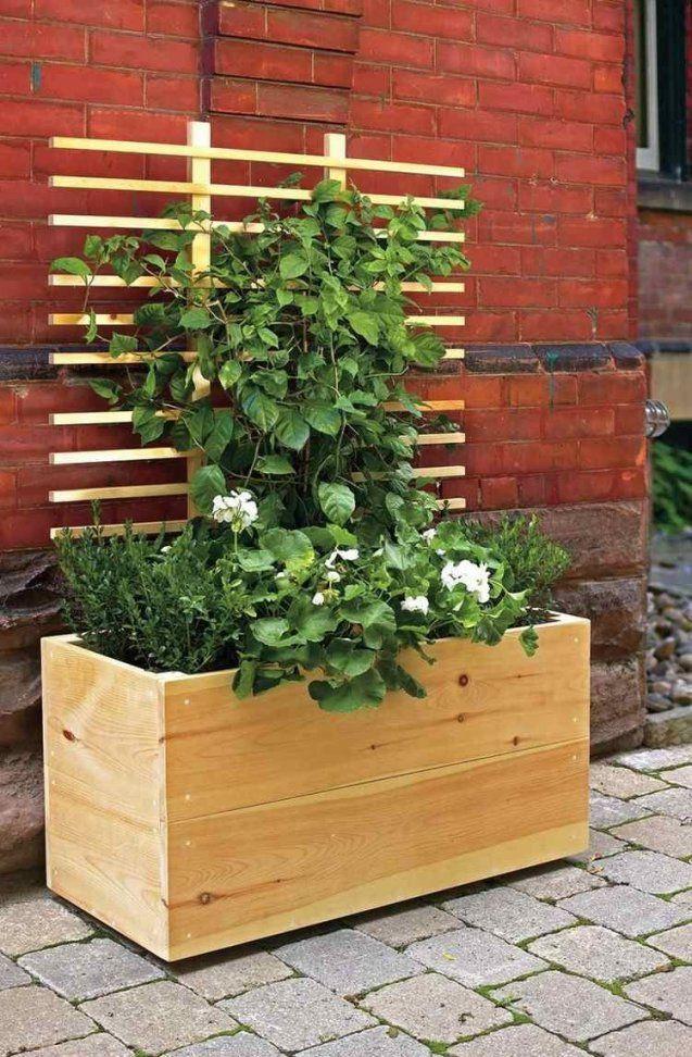Holz Pflanzkübel Mit Rankhilfe Für Kletterpflanzen  Garden von Blumenkasten Mit Rankgitter Selber Bauen Photo