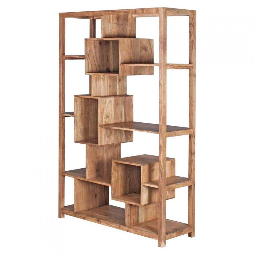 Charmant ... Holz Raumteiler Design Regal Massiv Akazie 115Cm Breit Selber Bauen Von Raumteiler  Regal Selber Bauen Photo ...