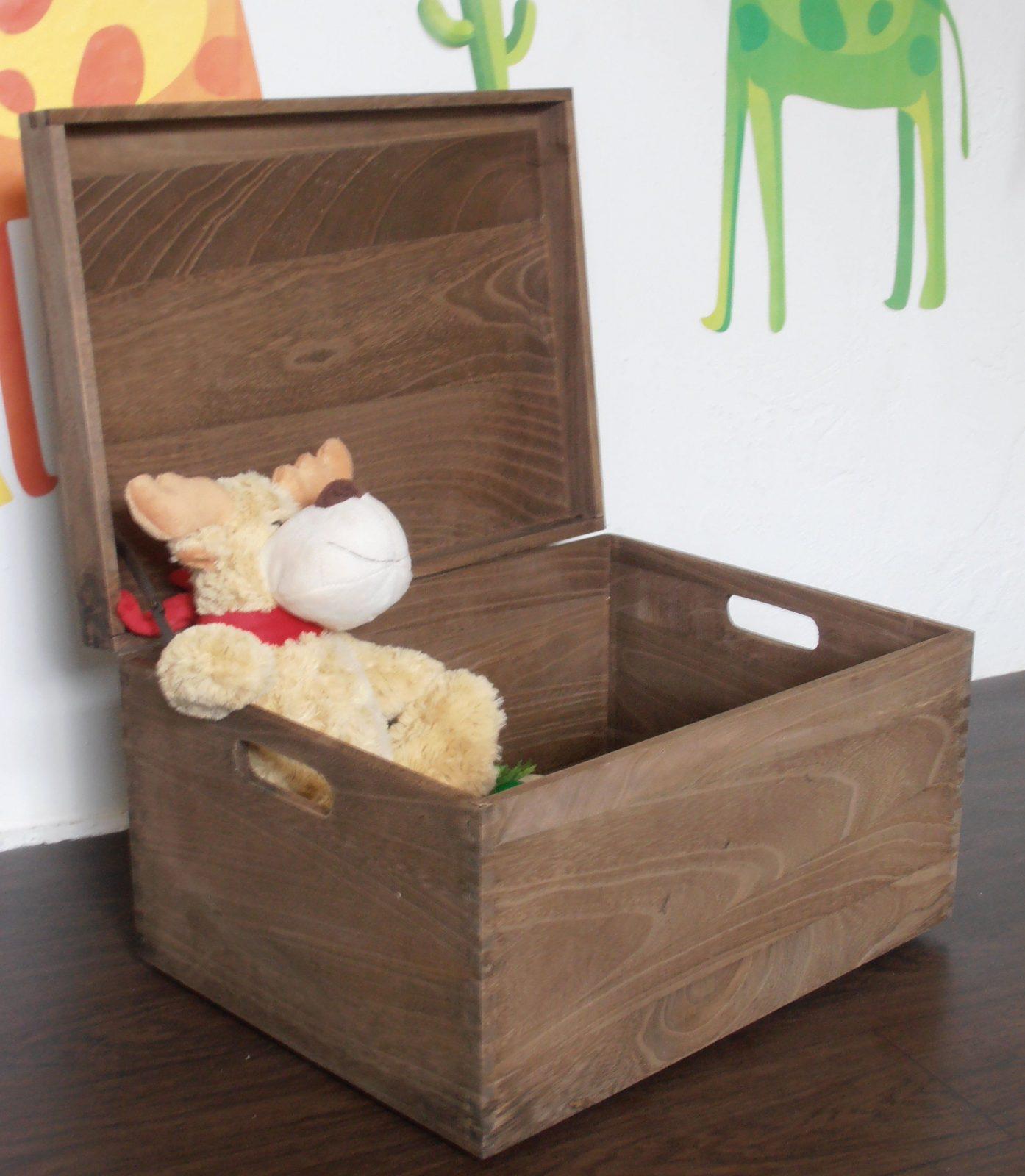 Holzbox Braun Mit Deckel Spielzeugkiste Spielzeugbox Sammlertruhe von Spielzeugkiste Holz Mit Deckel Bild