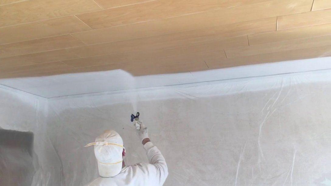 Holzdecke Streichen Mit Einem Airless Farbspritzgerät Wwwwandprofi von Braune Holzdecke Weiß Streichen Photo