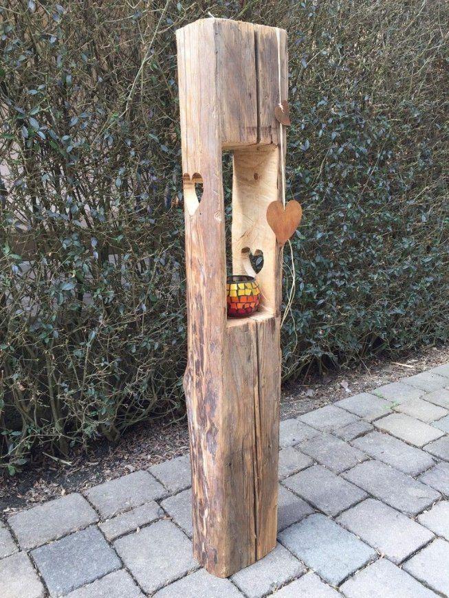 Holzlaterne Aus Alten Holzbalken Mit Herzausschnitt  Holz 2 von Basteln Mit Alten Holzbalken Bild