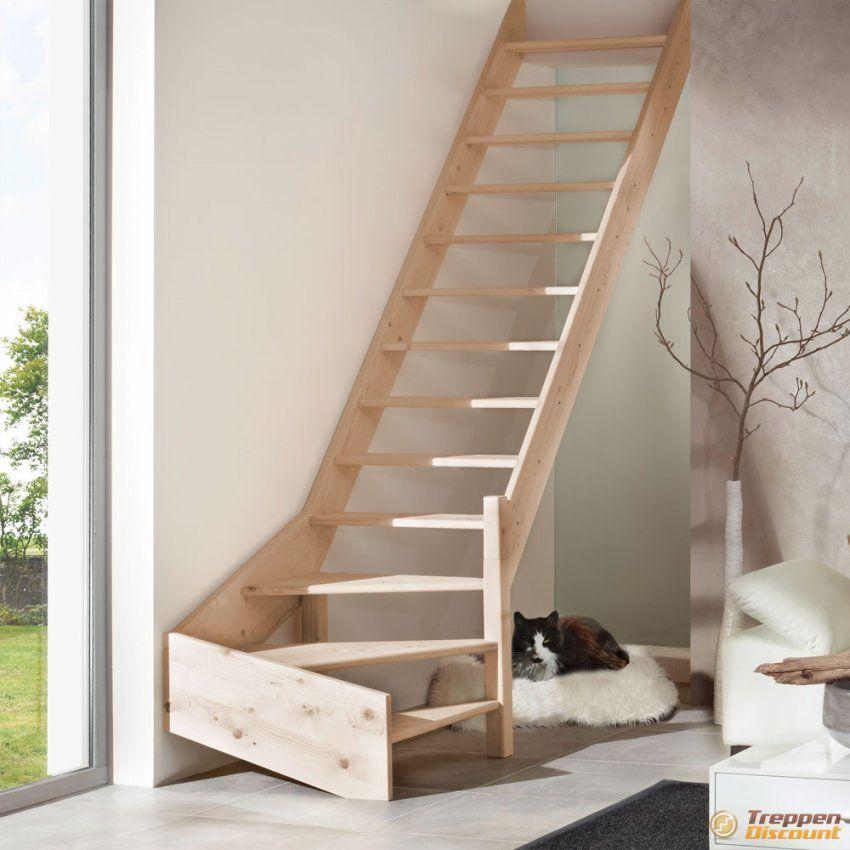 Holztreppe Aus Fichte 14 Gewendelt Günstig Kaufen von Raumspartreppe 1 4 Gewendelt Photo