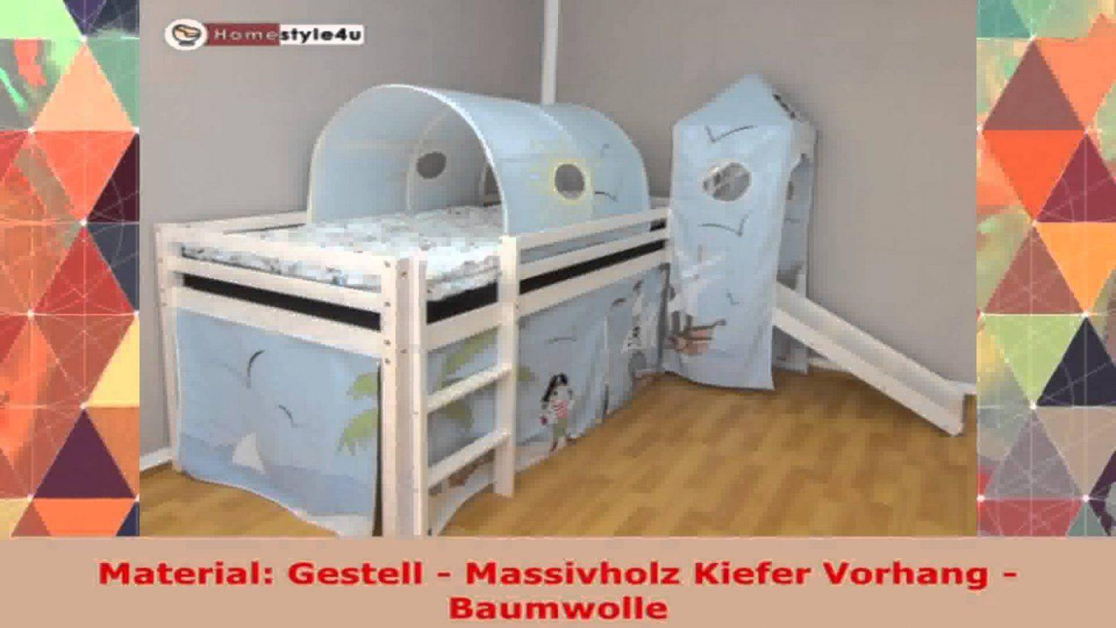 Homestyle4U Kinderbett Hochbett Spielbett Vorhang Lattenrost Weiss von Vorhang Für Hochbett Selber Nähen Bild