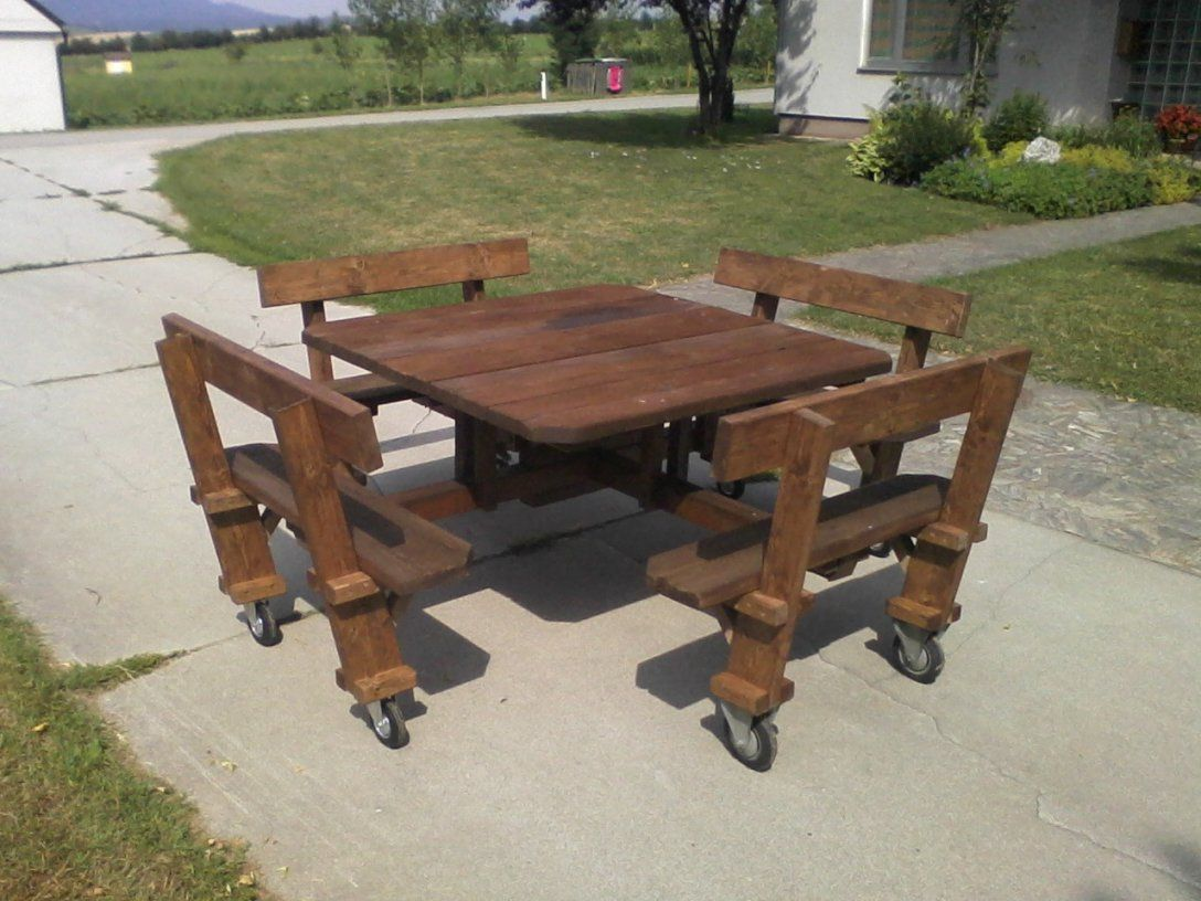 Ideen Aus Holz Mobile Gartenbanktischkombination von Bank Tisch Kombination Holz Photo