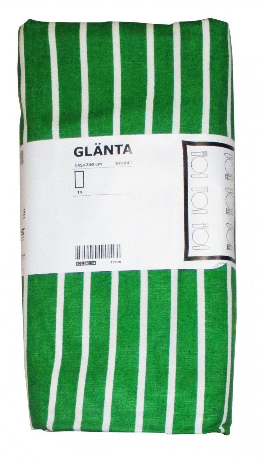 Ikea Glänta 1X Tischdecke Grün Weiß Gestreift 145X240 Baumwolle von Ikea Bettwäsche Grün Photo
