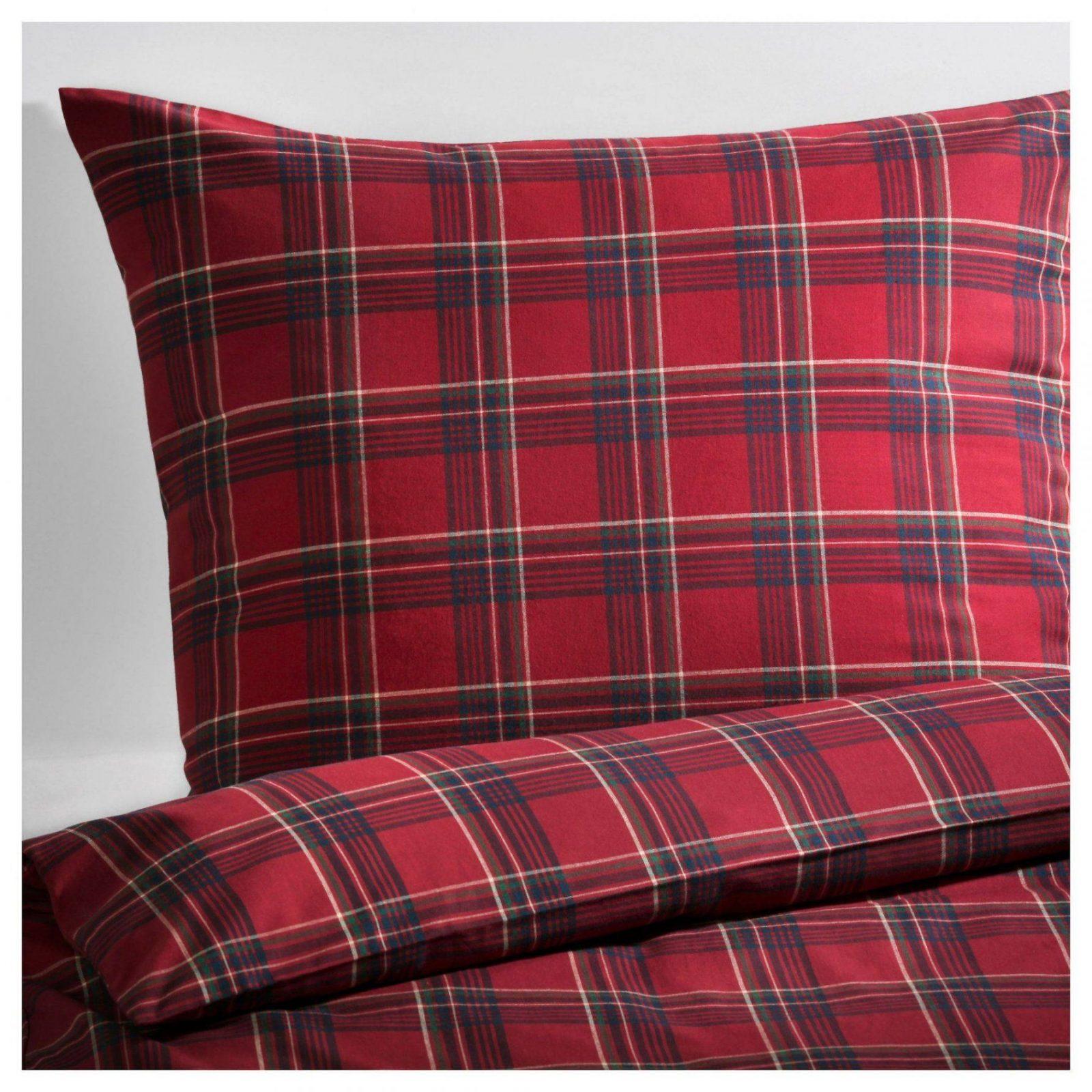 Ikea Svedstarr Bettwäsche Set Bettgarnitur 2Teilig Rot Kariert Von von Bettwäsche Ikea 155X220 Bild