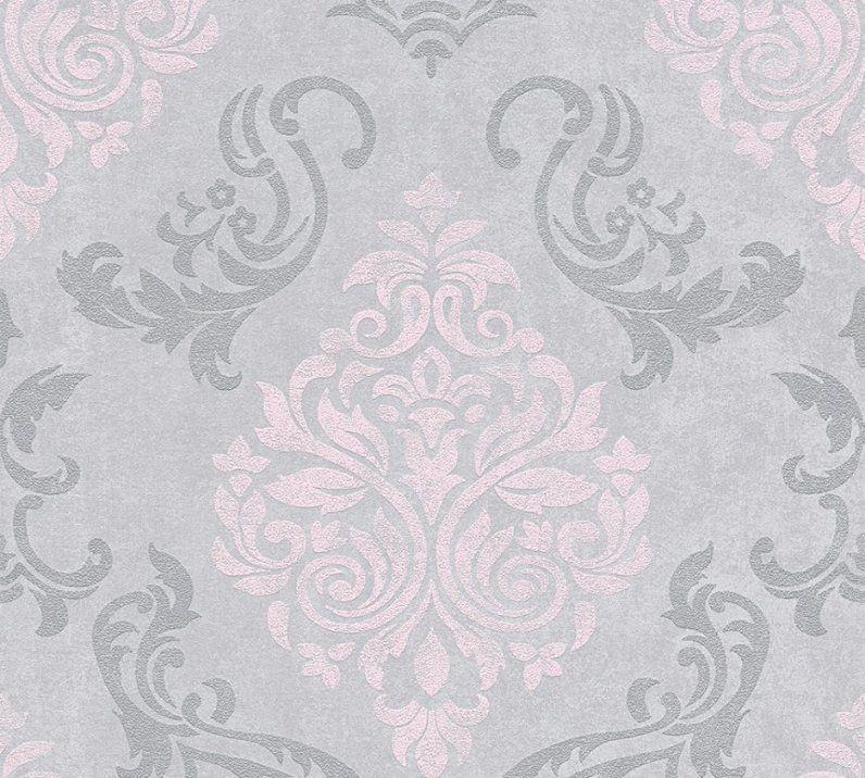 Innenarchitektur  Vliestapete Barock Glitzer As Creation Grau Rosa von Graue Tapete Mit Glitzer Photo