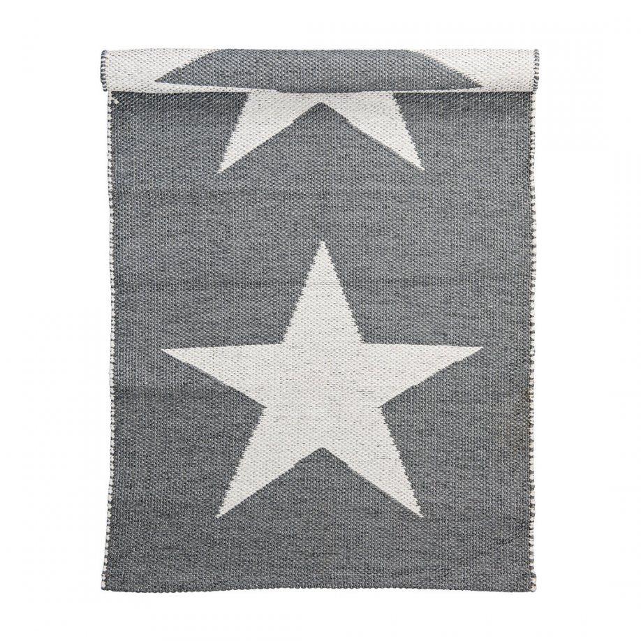 Inoutdoor Teppich Läufer Grauweiß Sterne Bloomingville von Teppich Mit Sternen Grau Photo