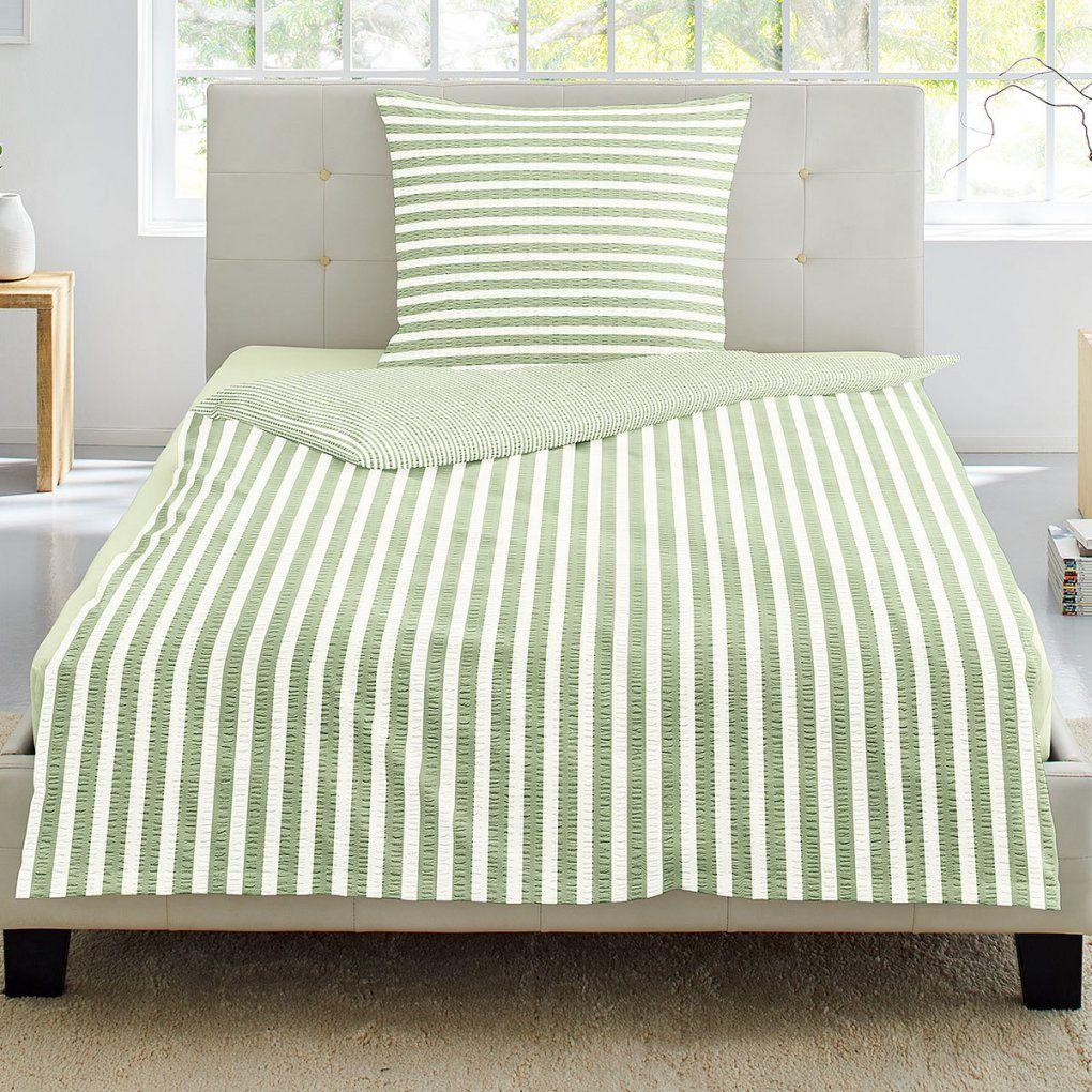 Irisette Seersucker Bettwäsche Streifen Grün Günstig Online Kaufen von Seersucker Bettwäsche 155X200 Photo