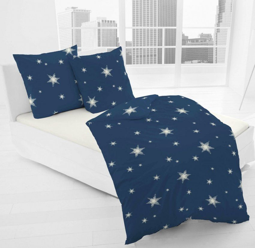Jackdormisette Fein Biber Bettwäsche Stern Sterne Blau Weiß von Dormisette Feinbiber Bettwäsche Bild