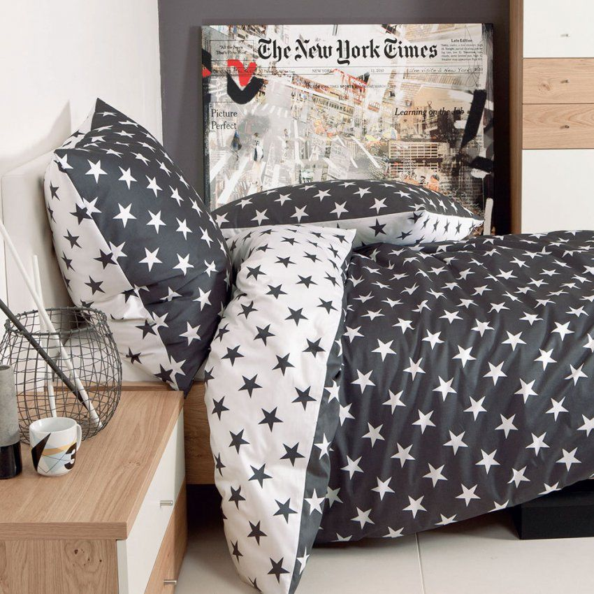 Janine Biber Bettwäsche Sterne Schwarz Günstig Online Kaufen Bei von Biber Bettwäsche Schwarz Weiß Bild