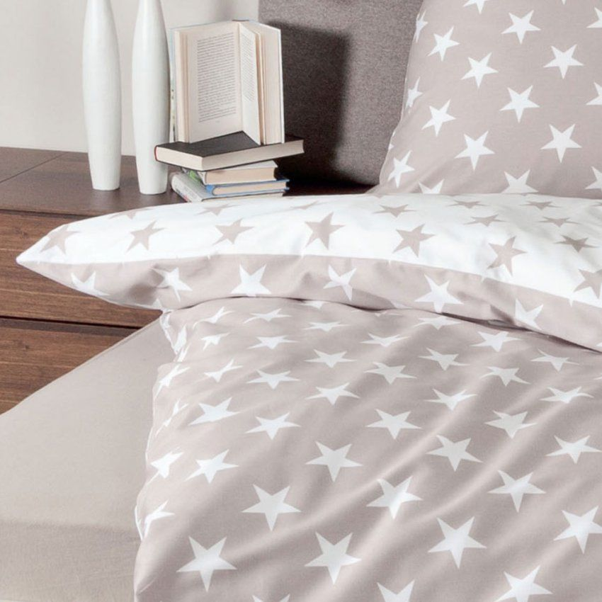 Janine Biber Bettwäsche Sterne Taupe Günstig Online Kaufen Bei von Biber Bettwäsche Sterne Grau Bild