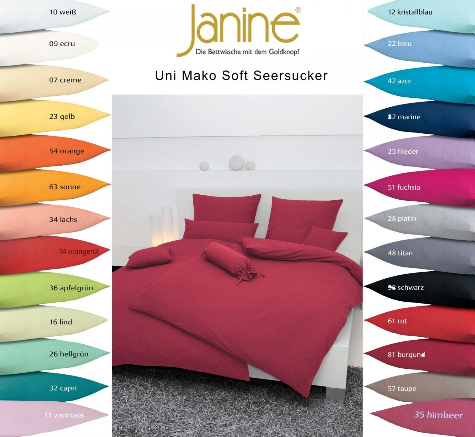 Janine Uni Mako Soft Seersucker Bettwäsche 135X200 155X200 155X220 von Soft Seersucker Bettwäsche 135X200 Bild