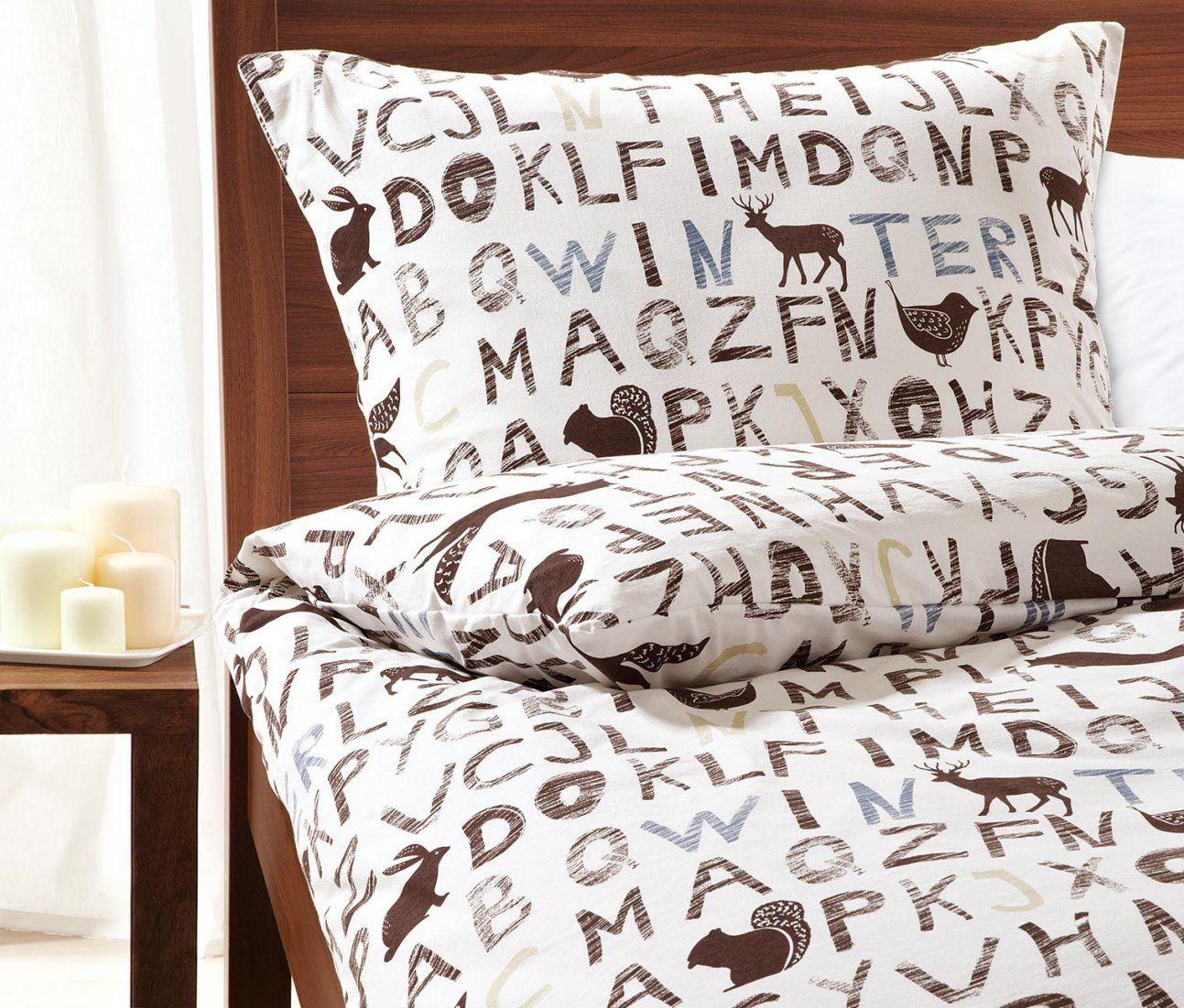 Jetzt Aber Ab Ins Bett Jerseybettwäsche Mit Buchstaben Und von Tchibo Jersey Bettwäsche Bild
