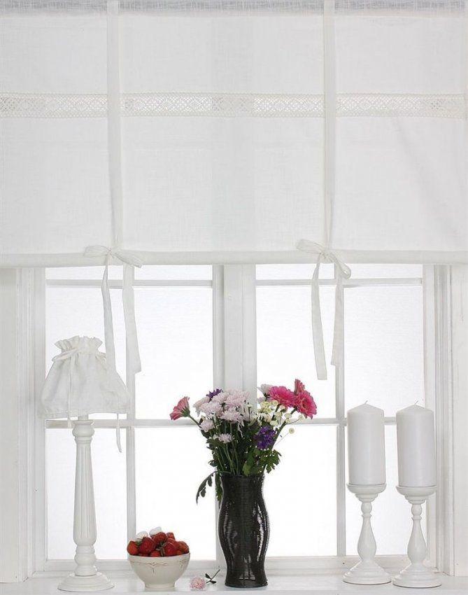Julia Off White Raffrollo 160X120Cm Leinenoptik Raffgardine Landhaus von Shabby Chic Gardinen Selber Nähen Bild