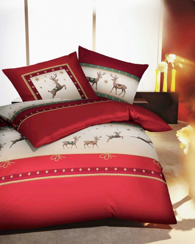 Kaeppel Biber Bettwäsche 135X200Cm Prancing Deer Hirsch Rot 2 Tlg von Bettwäsche Kaeppel Biber Bild