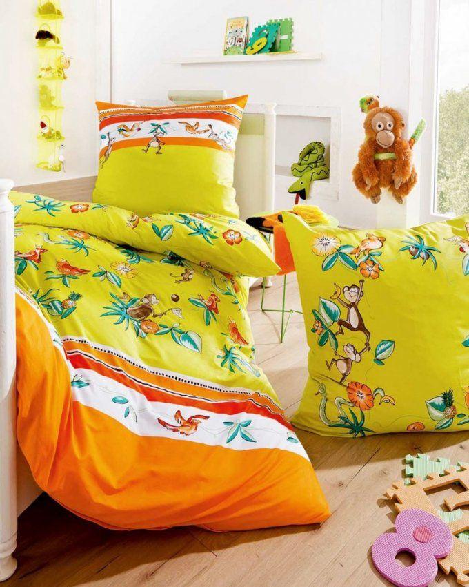 Kaeppel Junior Fein Biber Bettwäsche 2 Tlg 135X200Cm Affenbande von Biber Bettwäsche Orange Photo