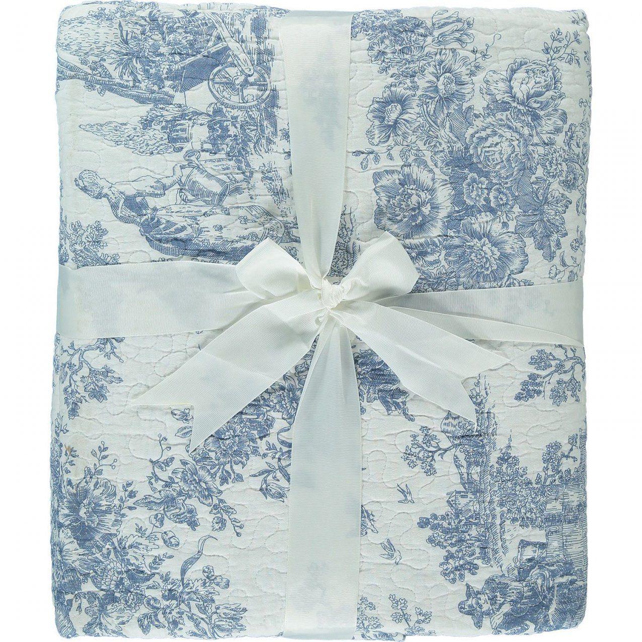 """Kensington Cotton"""" Double White & Blue Floral Print Bedspread  Tk von Tk Maxx Bettwäsche Photo"""
