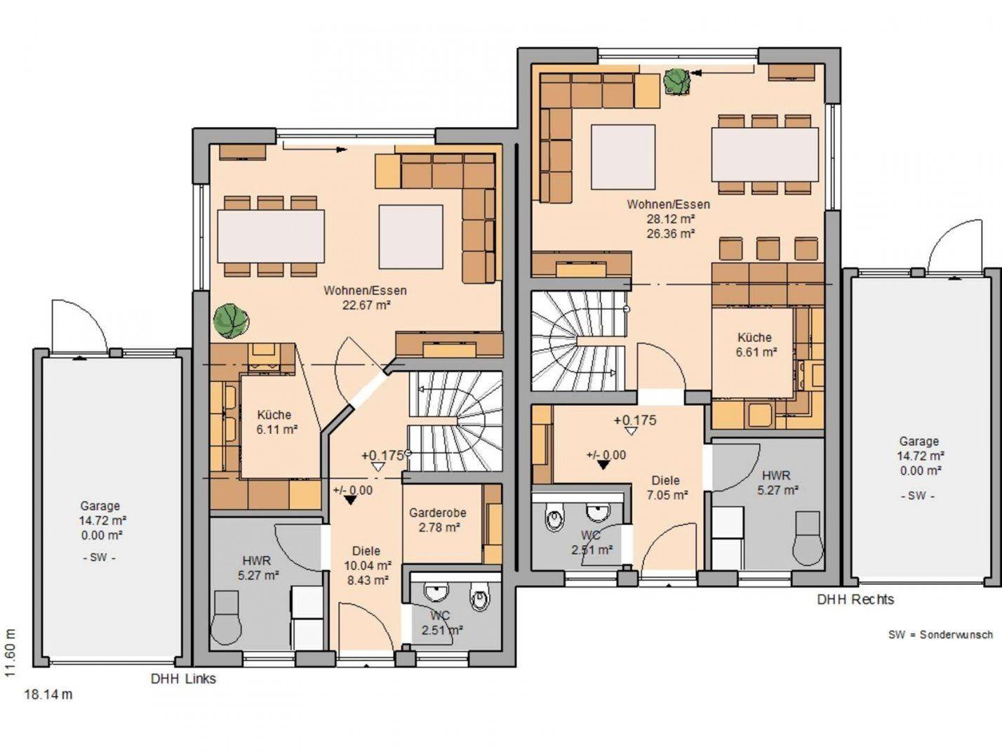 Kernhaus Doppelhaushälfte Twin Grundriss Erdgeschoss  Haus Und von Doppelhaus Grundriss Eingang Seitlich Bild