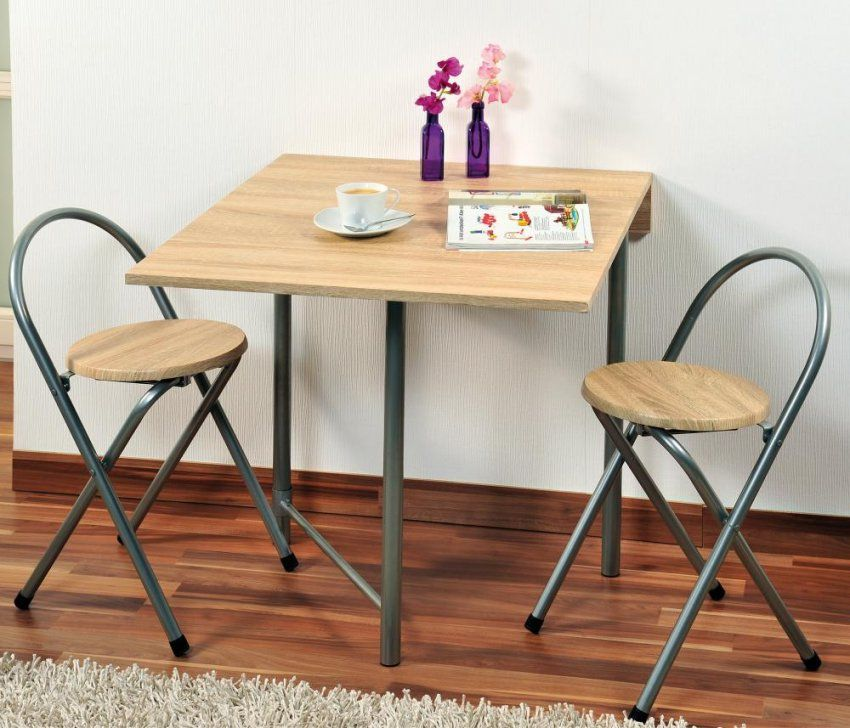 Kesper Küchentisch Mit 2 Stühlen Aus Metall Und Eichendekor 3Erset von Bistrotisch Mit 2 Stühlen Photo