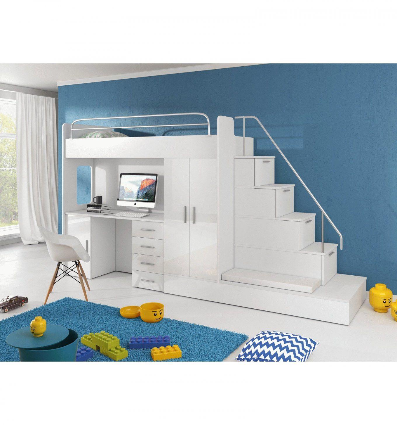 Kinder Hochbett Sun Mit Schreibtisch Kleiderschrank Treppe  Furnistad von Hochbett Mit Treppe Und Schreibtisch Photo