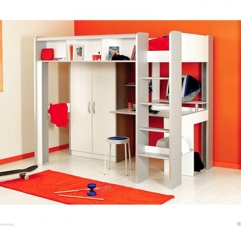 Kinderbett Hochbett Mit Treppe Kleiderschrank Schreibtisch Weiß von Halbhohes Bett Mit Treppe Photo
