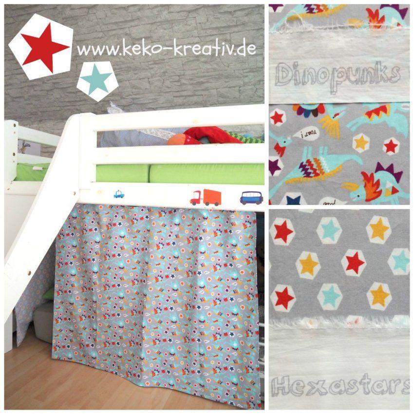 Kinderbett Vorhang  Stoffabbau Woche 3  Kekokreativ von Hochbett Vorhang Selber Nähen Photo