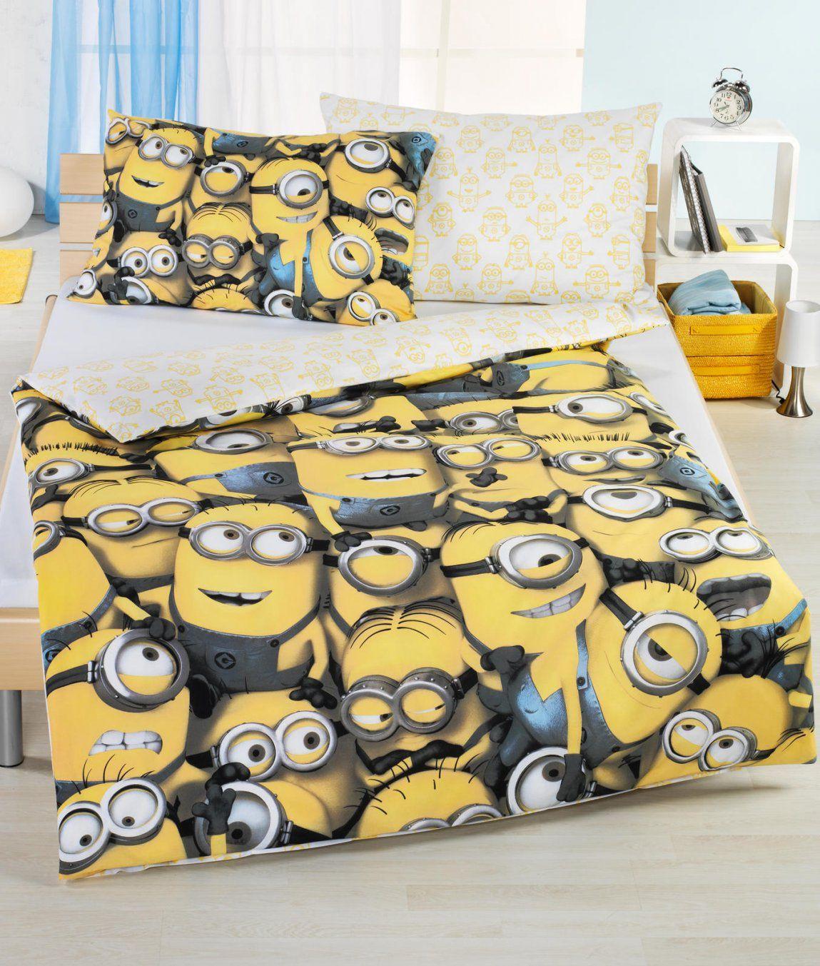 Kinderbettwäsche Garnitur Minions Kaufen  Angela Bruderer Onlineshop von Minion Bettwäsche Real Photo