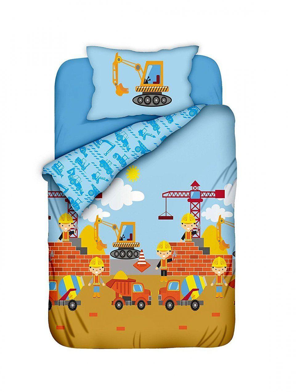 Kinderbettwäsche Jungenkinderbettwäsche Baustelle 100X135 von Feuerwehr Bettwäsche 100X135 Bild